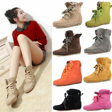 New Women Girls Ankle Martin Boots Flat Lace up short Suede Booties Autumn Shoes