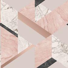 geometrisch Marmor Tapete zartes rosa rotgold - Fine Decor fd42303