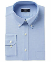 NEW MENS CLUB ROOM PERFORMANCE SLIM FIT WRINKLE FREE BLUE DRESS SHIRT 16.5 32/33