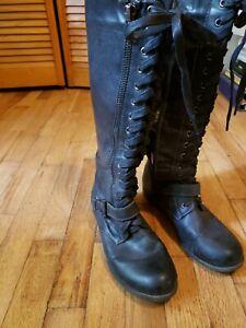 RAMPAGE Jazlynn Lace-up Black Boots Size 9M