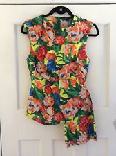 Zara Yellow Multi-Coloured Watercolour Floral Asymmetric Top, Size UK 6-8 XS New
