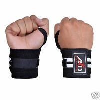 Weight Lifting Wrist Wraps Support Fitness Training Gym Bandage Straps B&W 18""