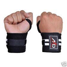 "Weight Lifting Wrist Wraps Support Fitness Training Gym Bandage Straps B&W 18"""