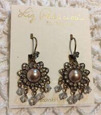 ❤️LIZ PALACIOS Gorgeous! Pearl & Swarovski Crystals Antique Brass Earrings NWT