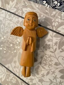 Gorgeous Traditional Church Handmade Wooden Christmas Tree Angel Signed