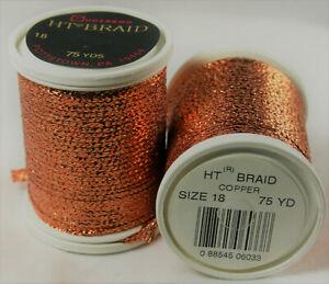 "One Vtg Spool Gudebrod HT Metallic Flat Braid Soutache Copper 1/8"" Wide 75 Yd"
