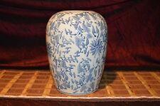 """Asian Porcelain Blue & White Vase Ginger jar Vine & Floral pattern 12""""x9"""" Marked"""
