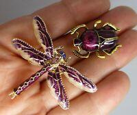 Dragonfly beetle insect brooch pair purple enamel rhinestone vintage style pins