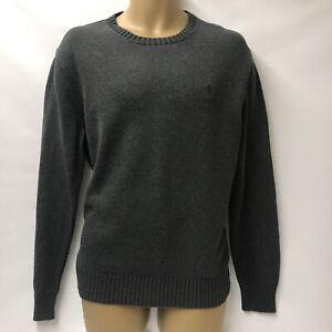 Mens Polo Ralph Lauren Knitted Jumper M Medium Grey Sweater Logo Crew Neck
