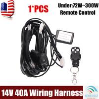 Remote Control Wiring Harness Kit Switch Relay Strobe LED Fog Light Bar 12V 40A