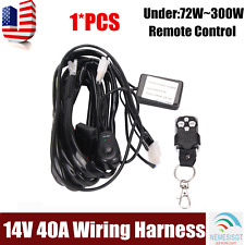 Remote Control Wiring Harness Kit Switch Relay Strobe LED Fog Light Bar 12V 40A