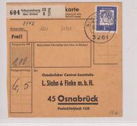 BUND, Mi. 361y EF, Paketkarte Schaumburg über Rinteln, 13.7.62