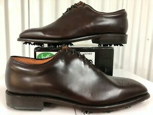 Justin Golf Shoes Classic Square Toe Leather Brogue Exotics BROWN 11W boots