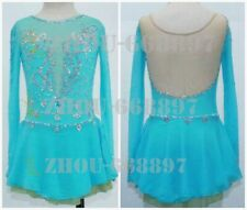 Girl Women latin Rumba Ice Skating Dress Competition Spandex light blue handmade