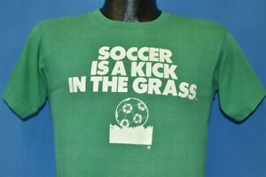 vintage 70s SOCCER IS A KICK IN THE GRASS #1 JOCK CHAMPION BLUE BAR t-shirt S