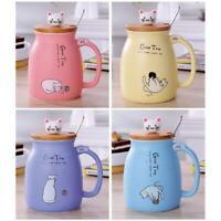 Keramik Tasse Wasser Becher Tee Kaffee Milch Tasse Geschenk mit Deckel + Löffel