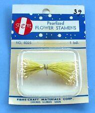 VINTAGE FEM YELLOW PEARLIZED FLOWER STAMENS FIBRE-CRAFT NIP