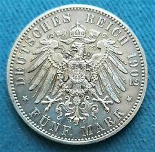 Saxe, 5 mark 1902 E, mort du Roi Albert. condition SUP