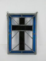 "Handmade Stained Glass Decoration Cross Crucifix Brown & Blue 7-5/8"" x 10-3/4"""