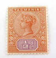 .TASMANIA AUSTRALIA c1892 QV 1/2d MH HIGH GRADE STAMP.