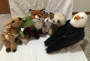 LARGE LOT OF SIX Folkmanis Plush Hand Puppets - Eagle, Fox, Frog, Sloth, & More!