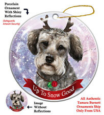 Schnoodle Grey Dog Christmas Holiday Ornament Up To Snow Good