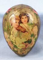 Vintage Easter Egg Decoration Victorian Children Decoupage Ceramic