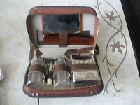 Vintage Retro Mens Leather Travel Case Grooming Set NEW Souvenir Cyprus