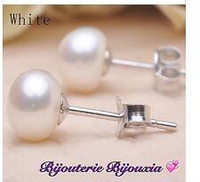 Boucles D'oreilles Véritables Perles D'eau Douce Naturelle Argent-Bijoux Femme