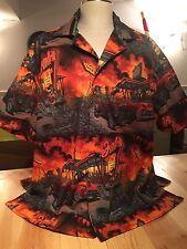 Zombies Drive In, man's Tropical Shirt, 2XL, SOMETHING FISHY SHIRTS