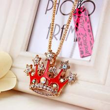 Enamel Crown Chain Rhinestone Necklace Jewelry Fashion Betsey Johnson Pendant
