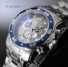 Men's Invicta Pro Diver Scuba Grey Dial Blue Bezel SS Chrono 200m WR 48mm Watch