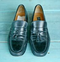 Johnston & Murphy Black Tassel Loafer Shoes Mens Size 8.5 D Unisex Leather Italy