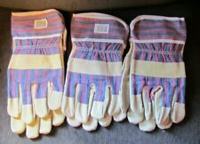 Blue With Red Stripe Gloves Work Large Suede Leather Palm New 3 Pair Lot Set