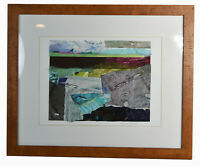 """14"""" Vintage Mixed Media Collage Abstract Watercolor Landscape Wall Art Decor"""