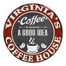 CPCH-0035 VIRGINIA'S COFFEE HOUSE Chic Tin Sign Decor Gift Ideas