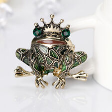 Women Men Unique Antique Bronze Frog Brooch Pin Dress Hat Accessory Gift Fashion