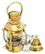 Vintage Brass Anchor Oil Lamp Polished Maritime Ship Lantern Boat Décor