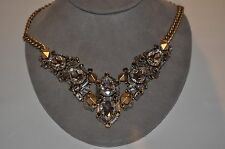 stella & dot Zora Gold plated crystal Statement Necklace 18' with 3' extender