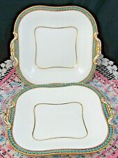 MINTON WHITE RIBBED TURQUOISE BEADED GOLD HANDLES CAKE SERVING PLATE