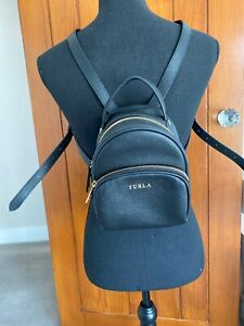 FURLA Black Leather Backpack Rucksack Bag CHEAPEST ON EBAY!
