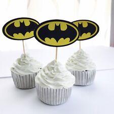 12 x BATMAN Superhero Cupcake Food Topper. Party Supplies Lolly Loot Bag Bunting