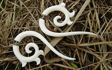 Fake gauge Organic White Bone Earrings  Split Expander Cheater Tribal Earrings