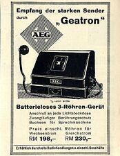 AEG Batterieloses 3-Röhren-Gerät GEATRON Historische Reklame von 1929