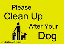 Yellow Clean up After Your Dog Sign Pet Dog Waste Painted Aluminum Signage #33a