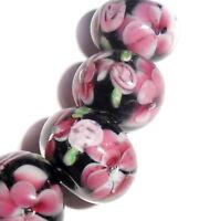 Handmade Lampwork Glass Rondelle Flower Beads Pink 14mm 4 Beads (#a65r)