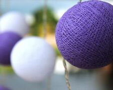 Two Tone Purple & White Cotton Ball BATTERY LED Fairy Lights 20 Light Balls