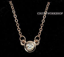 14K ROSE GOLD PLATED MINI CZ STUD ROUND PENDANT WOMENS NECKLACE JEWELLERY GIFT