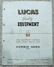 Lucas HUMBER HAWK MK 3 AUTO attrezzature e i pezzi di ricambio 1949 # 465