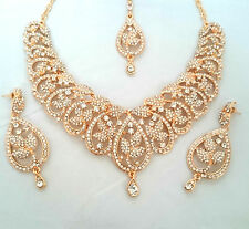 Indian Bollywood Gold Crystal Jewellery set Necklace Earring and Tikka